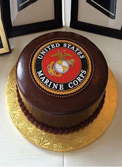 Picture of Round U.S. Marine Logo Grooms Cake
