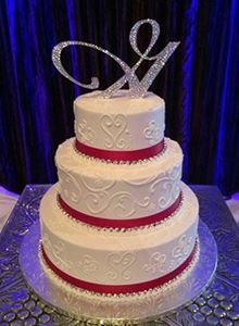 Picture of Red  Rhinestone Ribbon Wedding Cake