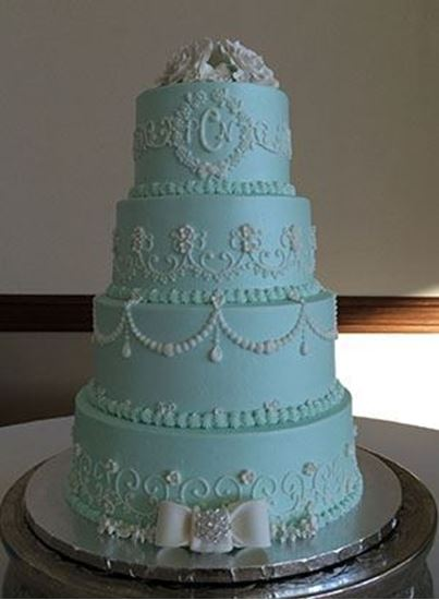 Picture of Soft Tiffany Blue Wedding Cake