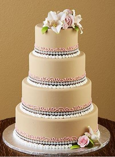 Picture of Mocha Brown & Pink Wedding Cake