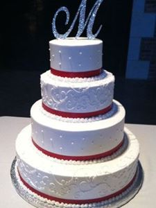 Picture of Traditional Scrolls & Dots Wedding Cake