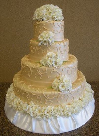 Picture of Champagne Gold Scrolled Wedding Cake