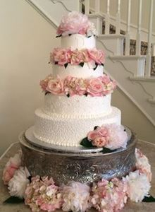 Picture of Fresh Pink Peonies Wedding Cake