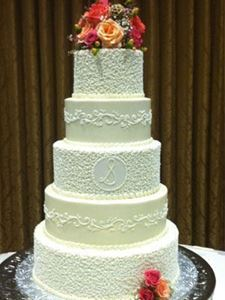 Picture of Cornelli Lace Scrolled Wedding Cake