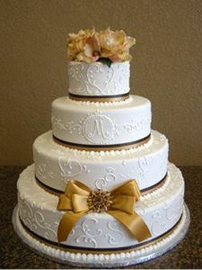 Elegant Cakery Gold Magnolia Ribbon Wedding Cake