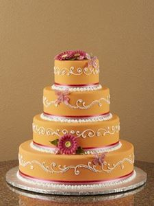 Picture of Hot Pink Gerber Daisy Wedding Cake
