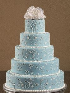 Picture of Soft Blue Scrolled Wedding Cake