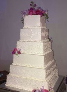 Picture of Square Monogram  Wedding Cake