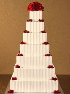 Picture of Fondant Pleated Square Wedding Cake