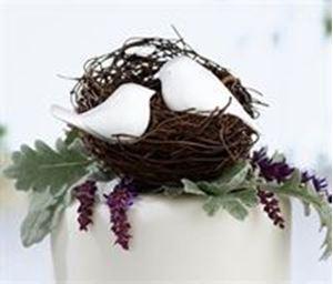 Picture of Love Birds Cake Pick - White