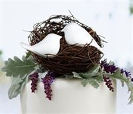 Picture of Love Birds Cake Pick - White