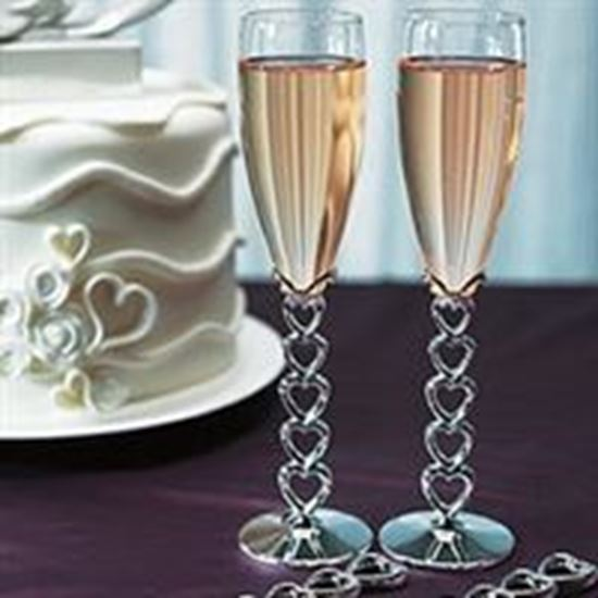 Picture of Stacked Hearts Toasting Flutes