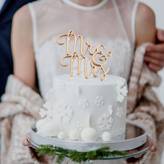 Picture of Mr & Mrs Cake Topper - Gold