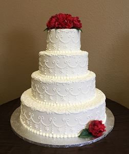 Picture of Red Roses & Scrolled Wedding Cake