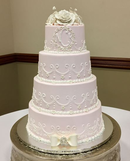 Picture of Soft Pink & White Scrolls Wedding Cake