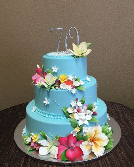 Picture of Blue Floral Birthday Cake