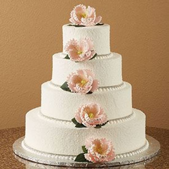 Picture of Sugar Glitter & Peony Wedding Cake