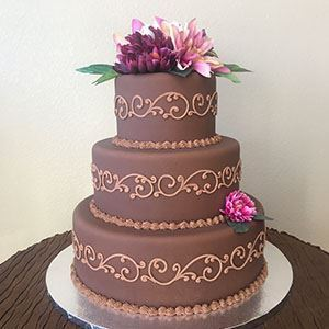 Picture of Chocolate Scrolled Wedding Cake