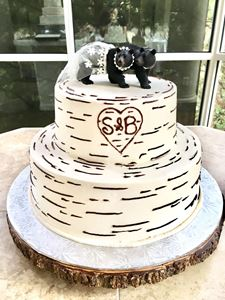Picture of Birch Wood Theme Wedding Cake