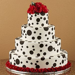Picture of Black Dots & Red Roses Wedding Cake