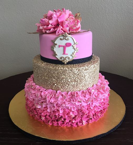 Picture of Gold Sequin Ruffle Cake