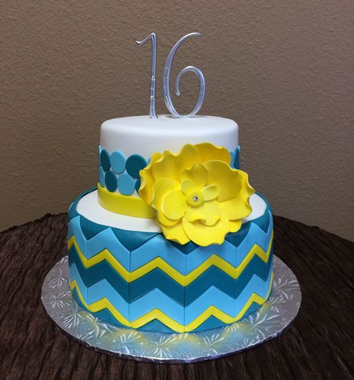 Picture of Sweet 16 Chevron Cake