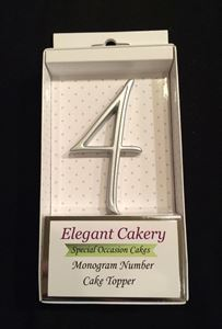 Picture of Number 4 Cake Topper - Silver