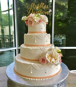 Picture of Draping Stringwork Wedding Cake