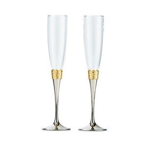 Picture of Hammered Gold And Polished Silver Wedding Champagne Glasses