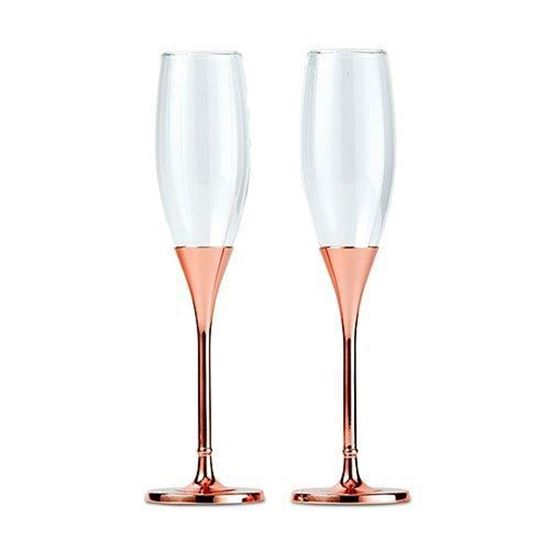 Picture of Rose Gold Diamond Glitter Toasting Flute Set