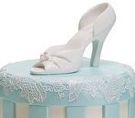 Picture of Pair Gumpaste White High Heel Shoes
